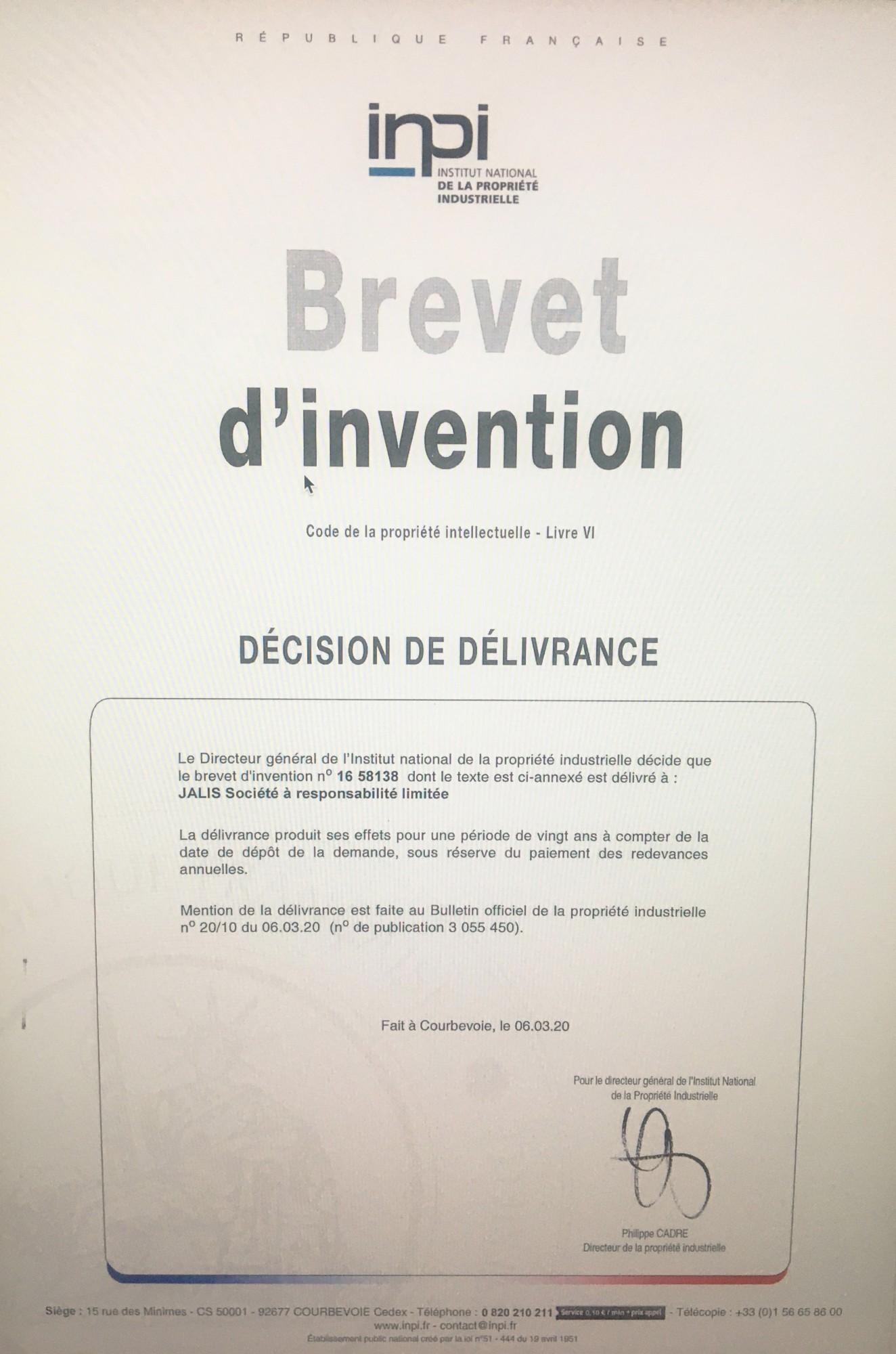 Agence Design Industriel Marseille jalis obtient son second brevet inpi lié à la gestion de
