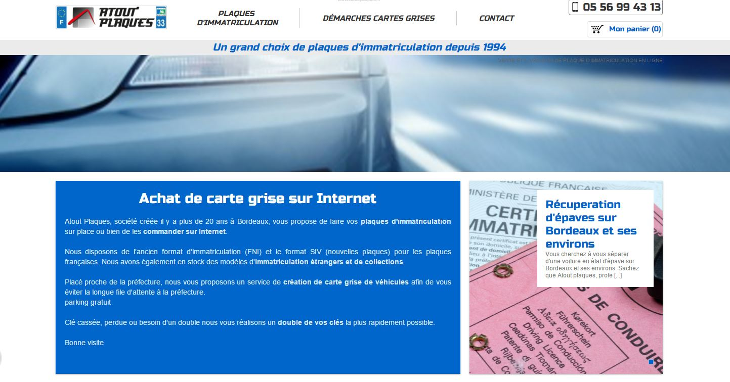 Achat de plaque d'immatriculation en ligne