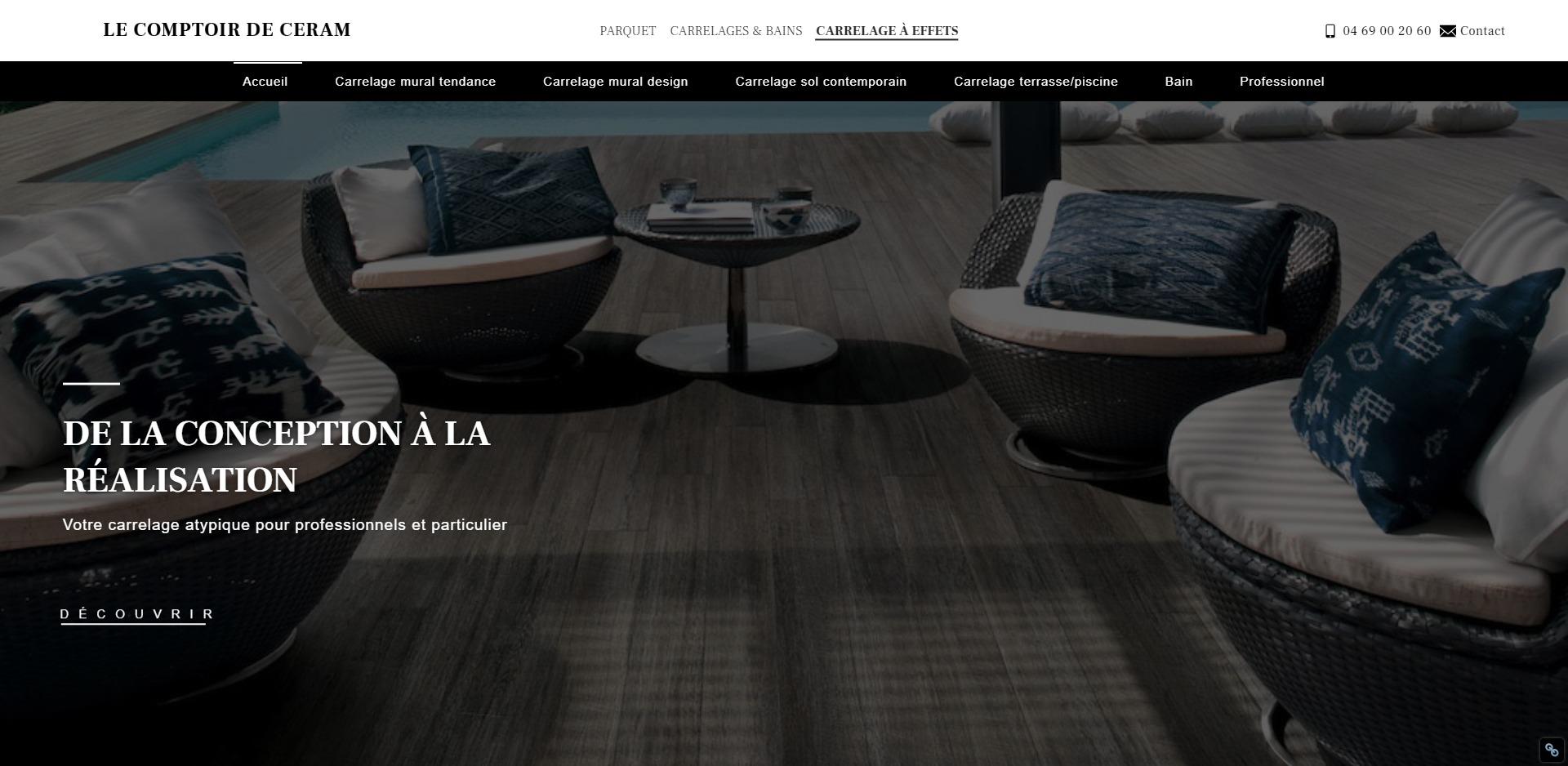 Au Comptoir Du Carrelage création de site pour magasin de carrelage en céramique
