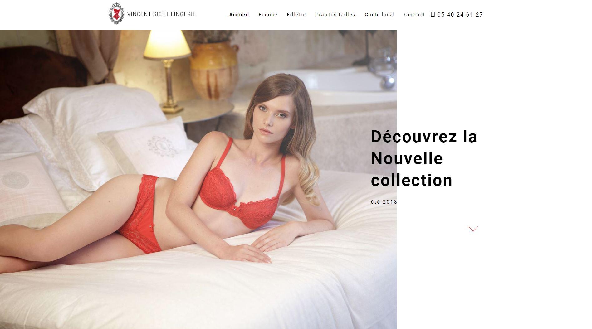 02c491080f5 Création de site internet pour magasin de lingerie et maillots de ...