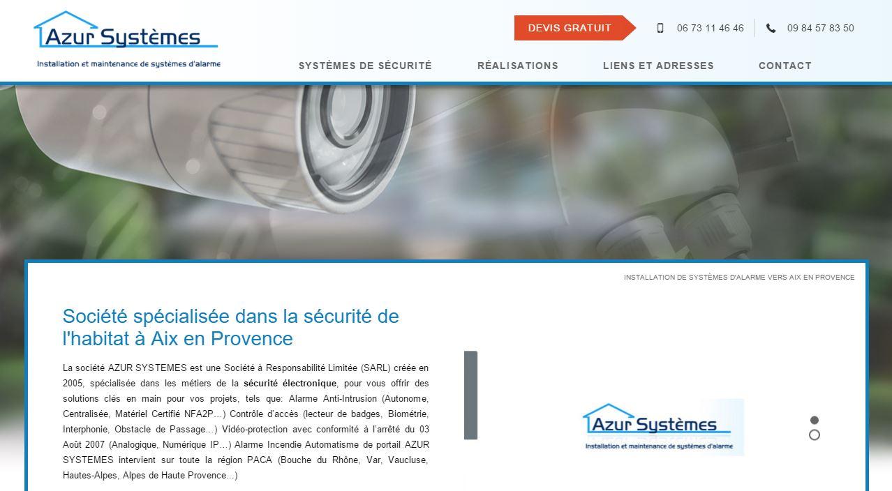 Sites web pour installateurs d'alarme à Aix en Provence
