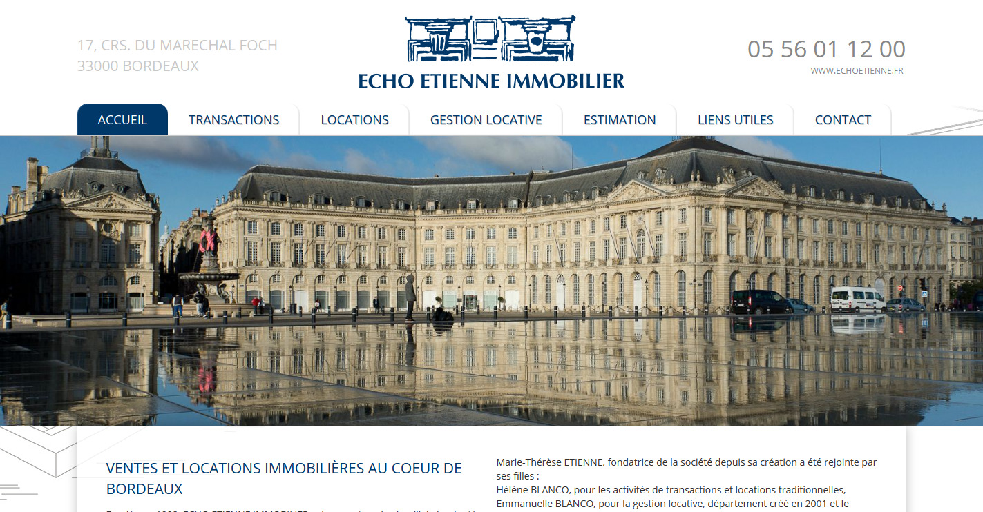 agence immobili re bordeaux echo etienne immobilier site internet immobilier jalis. Black Bedroom Furniture Sets. Home Design Ideas