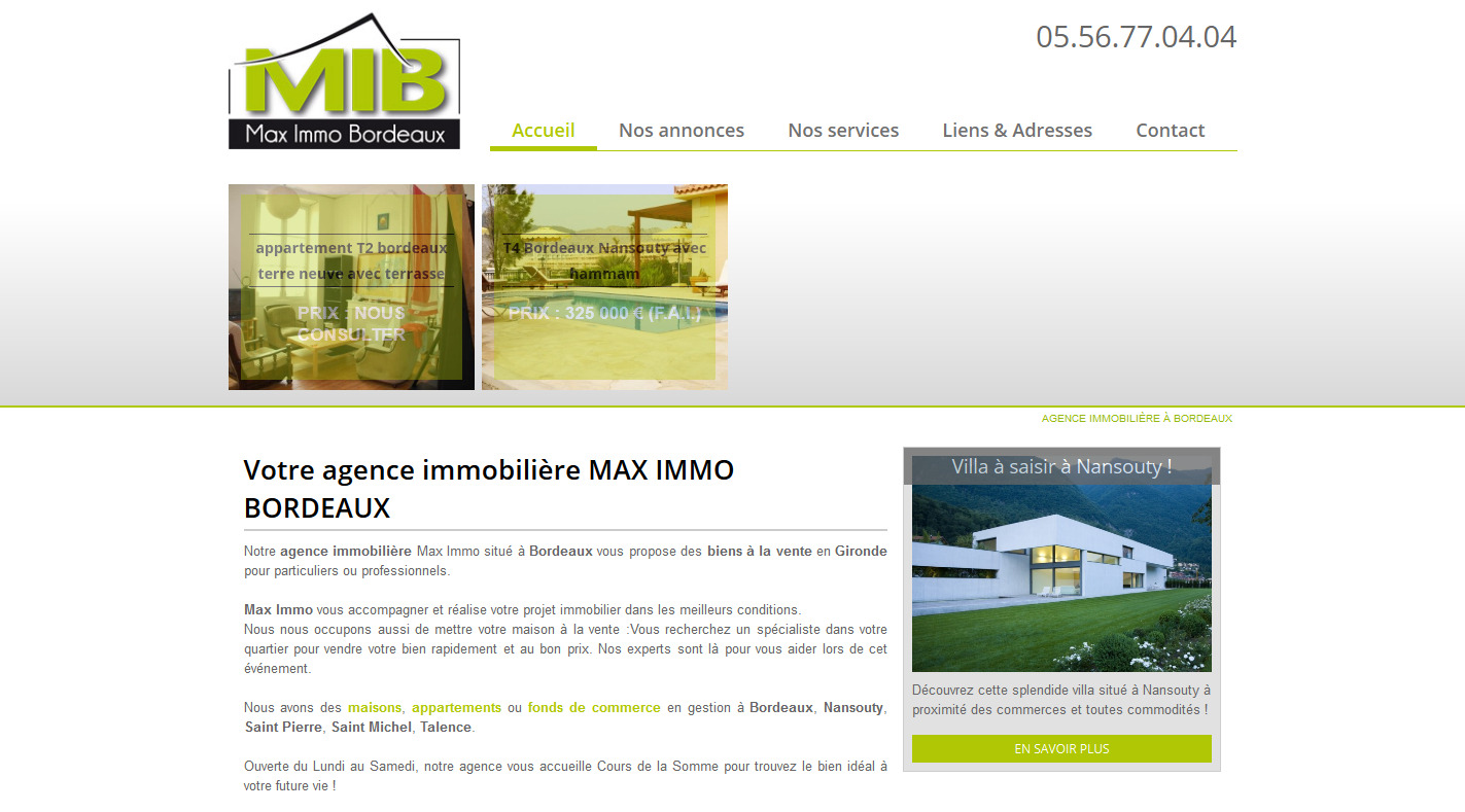 Agence immobili re bordeaux max immo agence web for Agence immobiliere independante bordeaux