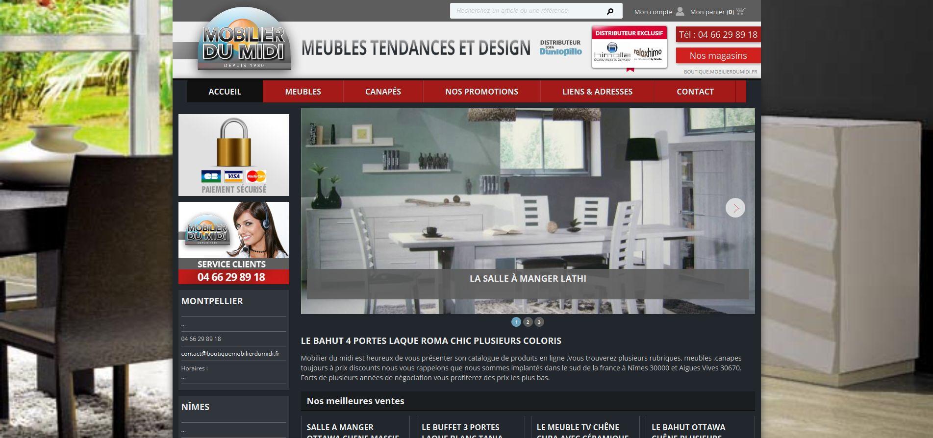 Vente en ligne de meubles bas prix mobilier du midi - Ameublement en ligne ...