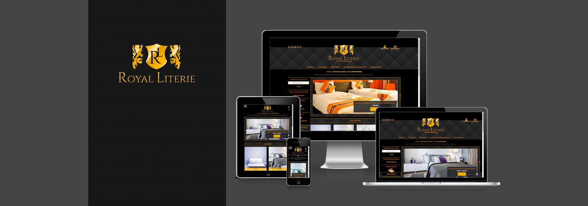 magasin de literie en ligne royal literie r alisations agence de communication web marseille. Black Bedroom Furniture Sets. Home Design Ideas
