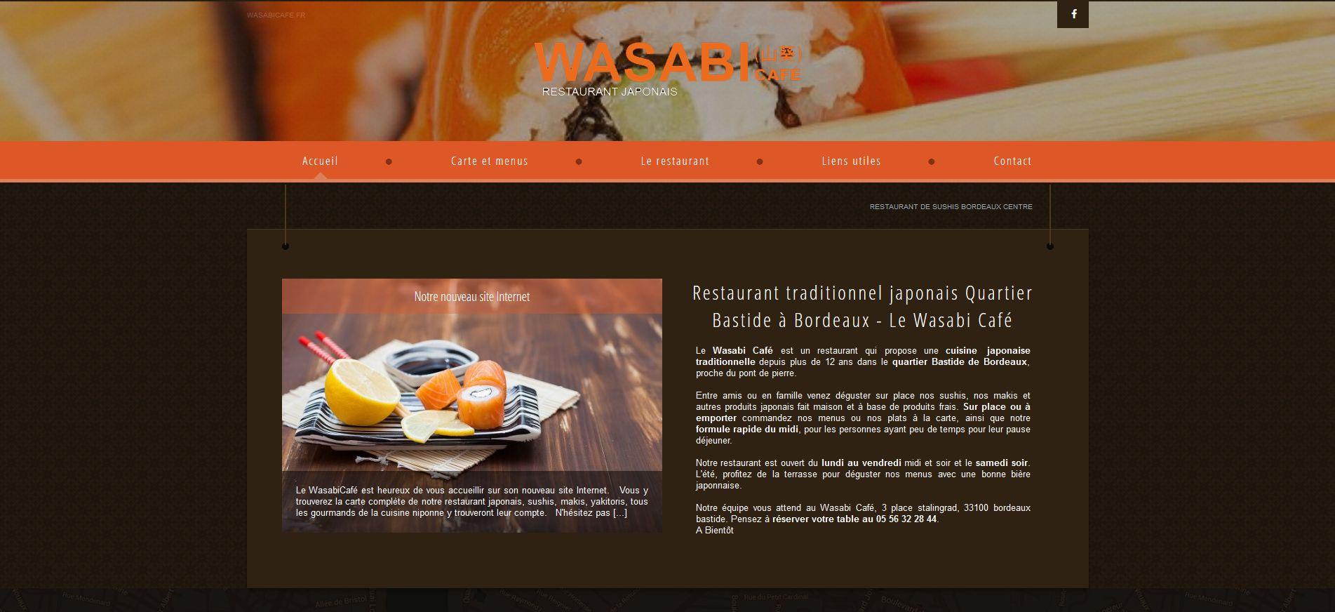 restaurant japonais bordeaux wasabi caf r alisations agence de communication web. Black Bedroom Furniture Sets. Home Design Ideas